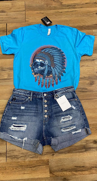 Little feathered Indian Tee on bella canvas