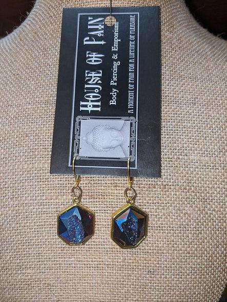 Blurple geode earrings