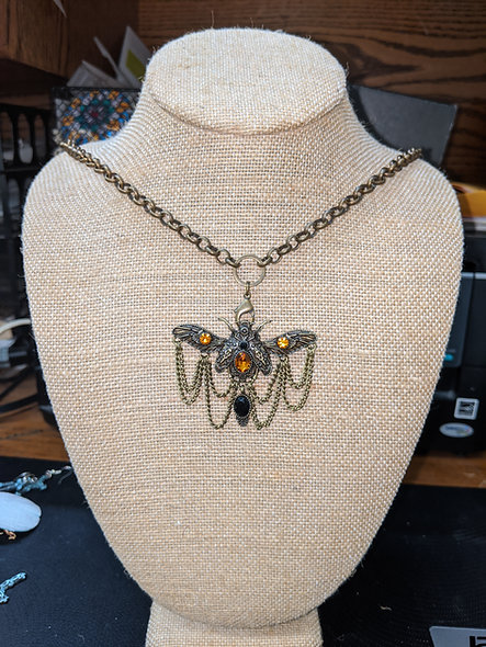 Vintage Moth with amber stones