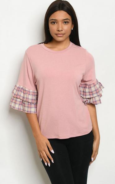 Pink ruffled checkered sleeves