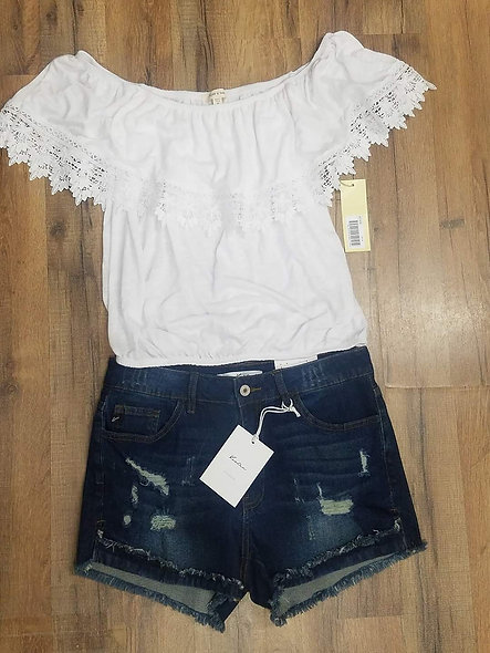 Paper Tee off the shoulder lace