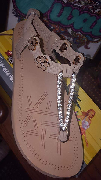 Taupe flower/ bling sandal
