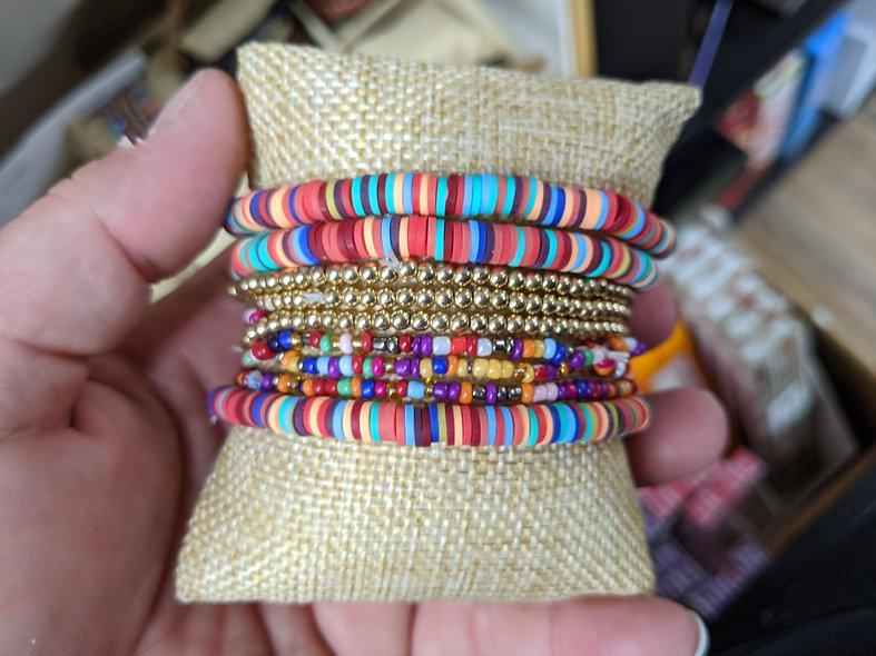 Wildflowers seed bead bracelet pk