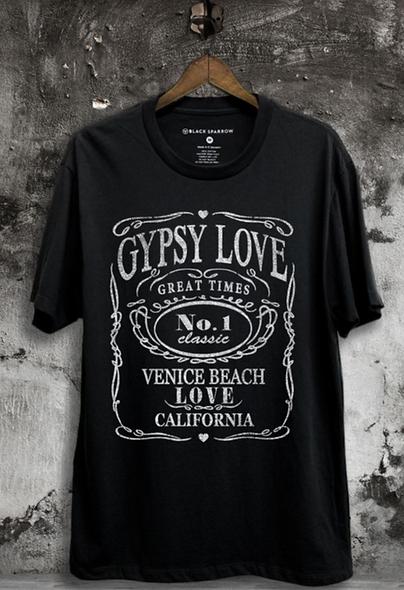 Gypsy Love on black tee
