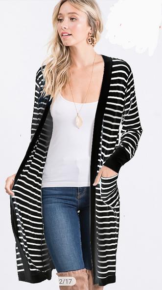 Plus striped cardigan