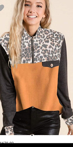 Mustard and leopard lightweight sweater