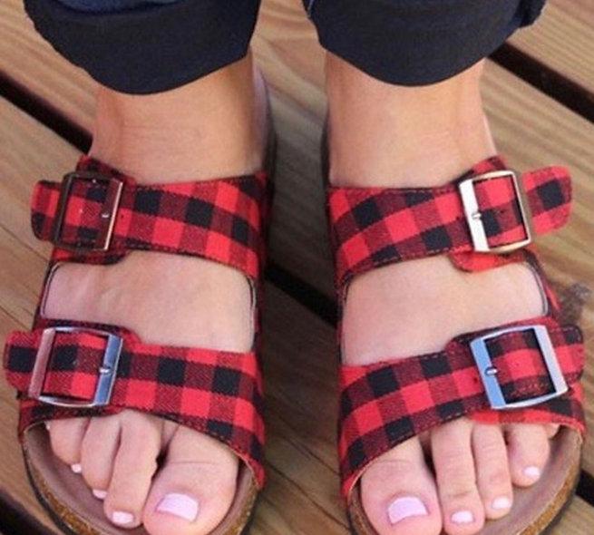Buffalo plaid sandals