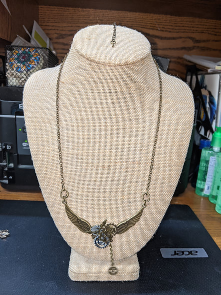 Steampunk wings long necklace