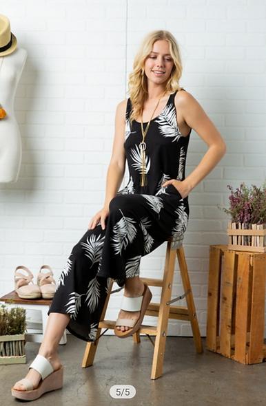 B/W leaf print jumpsuit