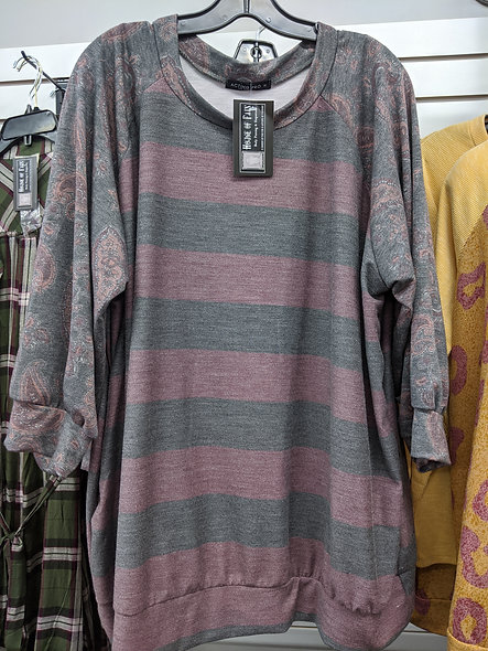 Burgundy &grey stripe paisley Top
