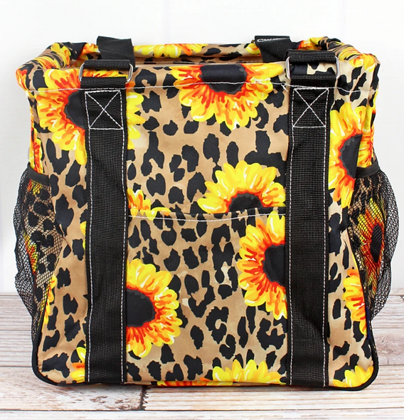 Sunflower and leopard collapsible tote