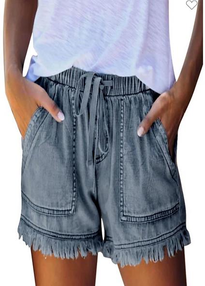 Cezele medium wash drawstring tassle shorts