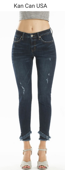 Kan can Plus frayed edge skinny jean