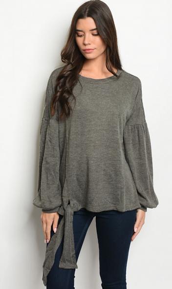 Longsleeve dark grey sweater long ties