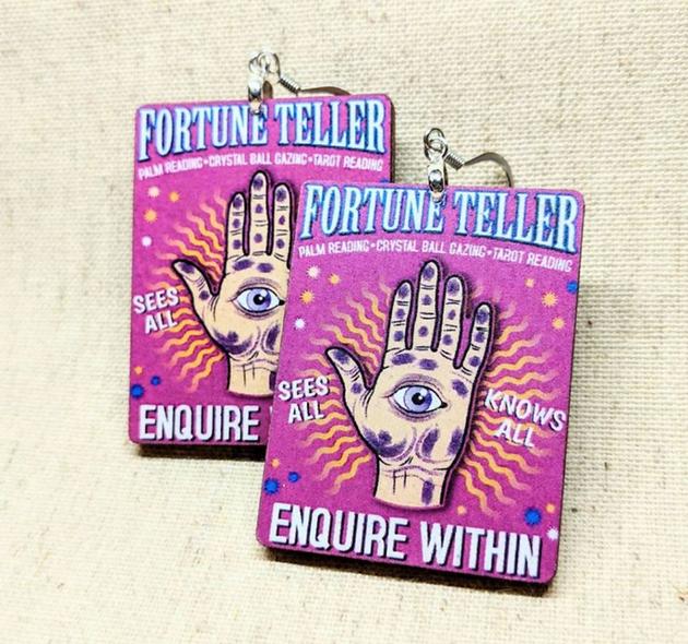 Fortune Teller wooden earrings