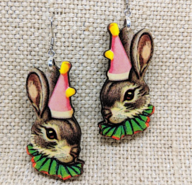 Large Easter Bunny wooden earrings