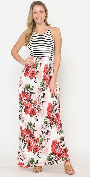 Magic Fit Soft striped & floral tank maxi dress