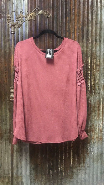 Wine color Waffle texture crochet lace on sleeve