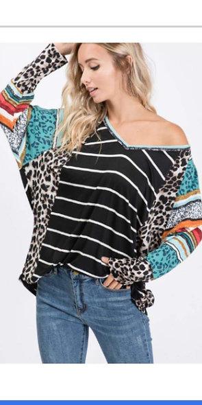 LS dollman style leopard , stripes & serape