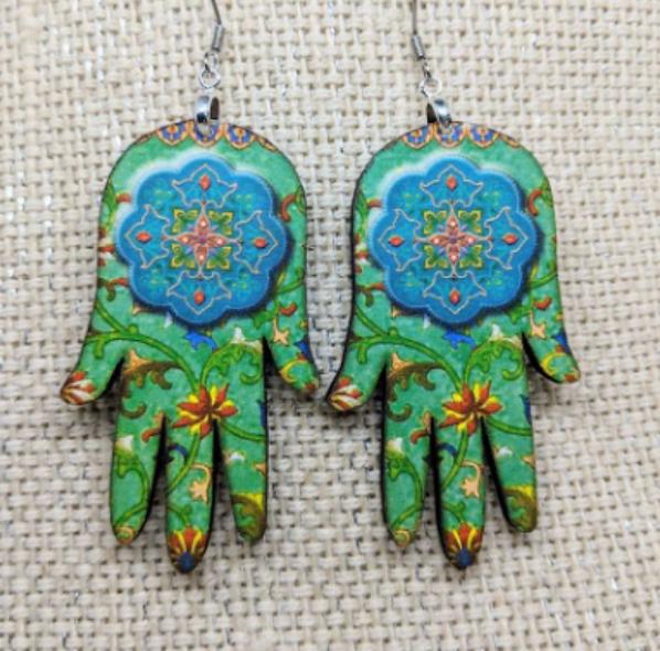 Hamsa Hand wooden earrings