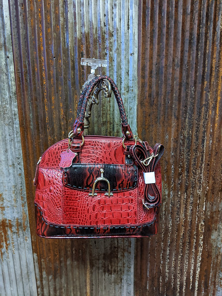 Red crocodile handbag