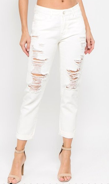 Bazi High rise boyfriend distressed