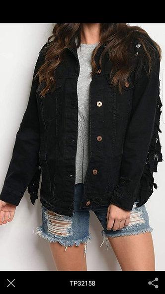 Black denim fring destroyed jacket