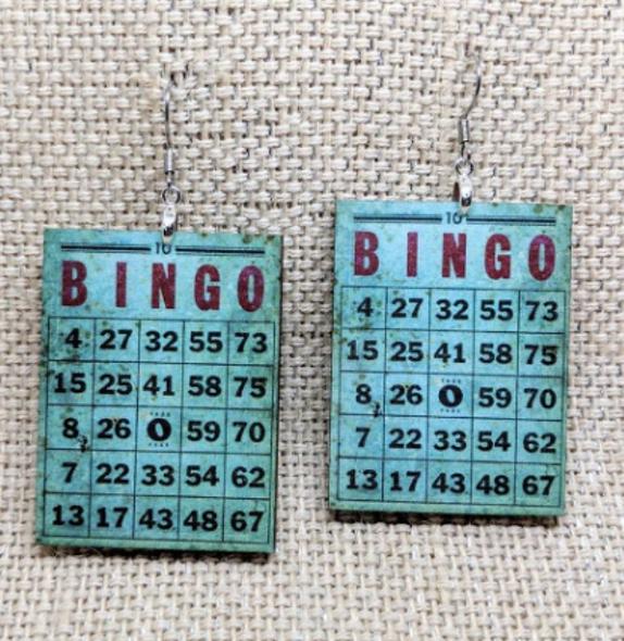Bingo card wooden earrings