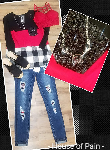Red & B/w plaid with black sequin pocket
