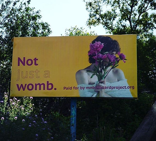 2019 MN Bilboard Project, Marla Klein, Pro-Choice, Not Just a Womb, Photo of woman holding peonies over face