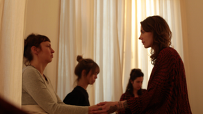 Katharina Wunderlich connecting with women in her healing circle.