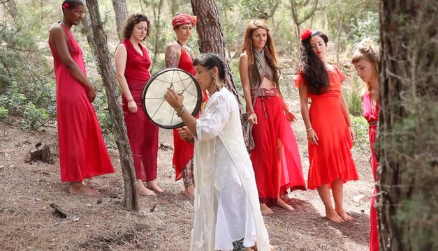 Meditative walk in forest. Drumming by Aiwu Rivera.