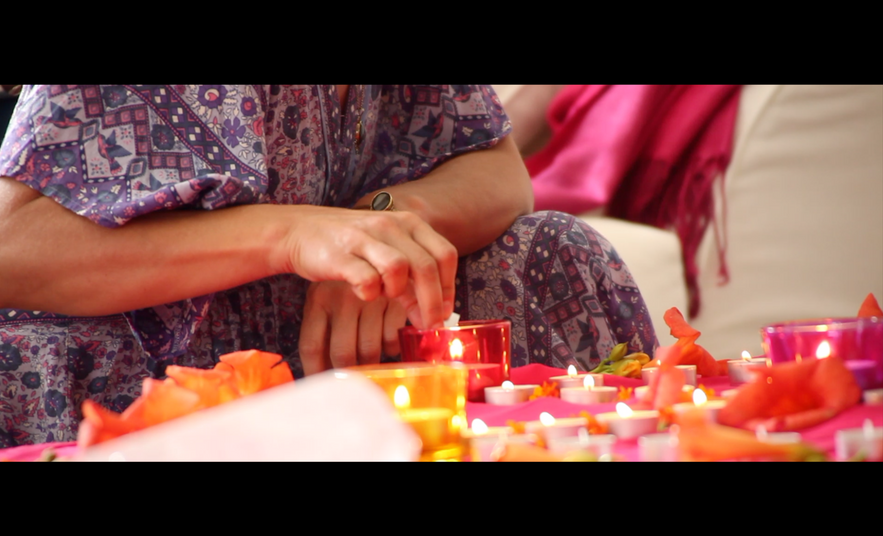 Lighting candles for a ceremony with Diana Odette Beaulieu