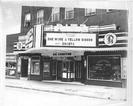 Ritz marquee, 1949, Sje wore a yellow ri