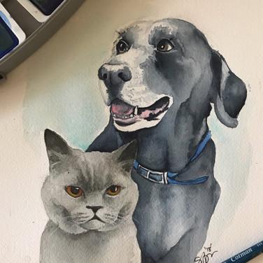 Reggie and Sophie - Watercolor