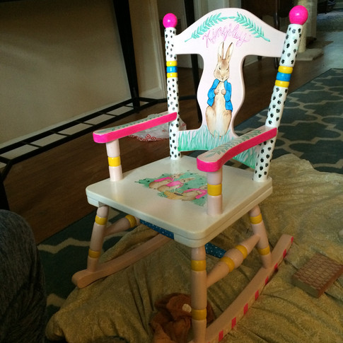 Custom Painted Rocking Chair for Dylan Lauren's daughter Kingsley