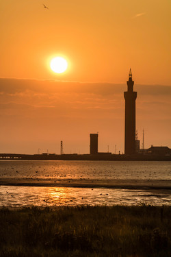 Grimsby's Dock Tower stands tall against