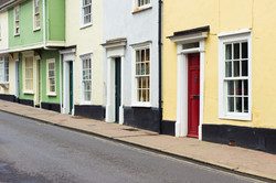 Colorful old town houses in Bury St Edmu
