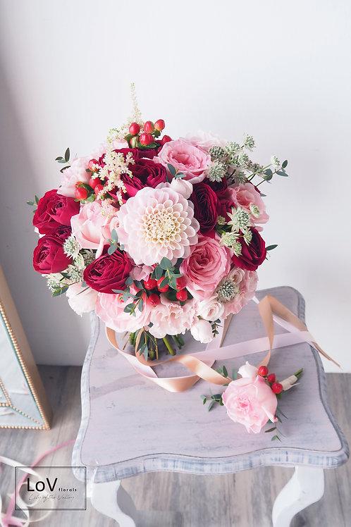 Dahlia with Garden Rose