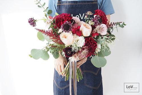 Dahlias with Garden Roses