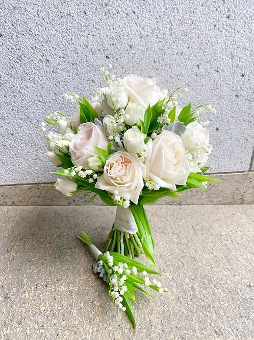 Lily of the Valley with White Ohara Roses