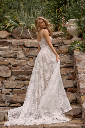 CLEO ML20026 FULL LENGTH A LINE FLORAL LACE GOWN SCOOP NECKLINE THIN STRAPS SCOOP BACK ZIPPER AND BUTTON CLOSURE WEDDING DRESS MADI LANE BRIDAL 2.jpg