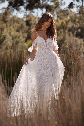 CAMRYN ML20030 FULL LENGTH A LINE EMBROIDERED LACE GOWN PLUNGING NECKLINE THIN STRAPS DETA