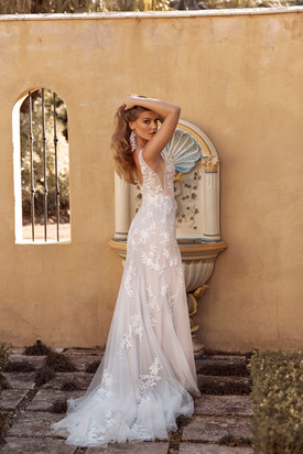 BLAYNE ML19487 FULL LENGTH FIT FLARE SILHOUETTE V NECKLINE WITH ILLUSION BODICE EMBROIDERE