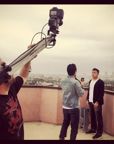 Matthew directing the Fung Brothers for the Hungry Youtube channel.