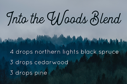Into the Woods diffuser blend postcard