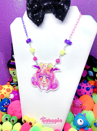 """""""Spooky Cutie Girl"""" Holographic Large Necklace"""