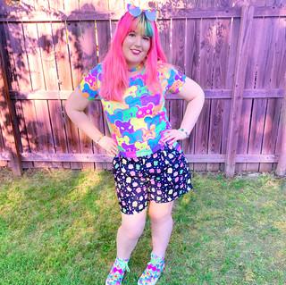 "🌸 ""Bearie Rainbow"" T-Shirt 🌸 Black ""OctoParty"" Zipper Shorts 🌸 ""Bearie Rainbow"" Hi-Top Shoes"