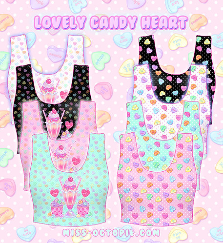 """Lovely Candy Heart"" Crop Tank Top"
