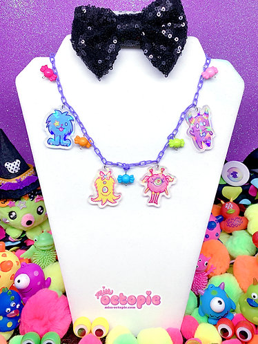 """Fashion Monster Group"" Holographic Multi Charm Necklace"